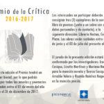 Bases del Premio de la Crítica 2016 – 2017 mención poesía